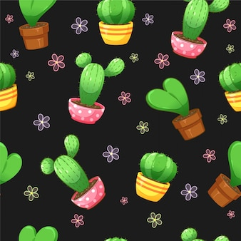 Seamless pattern of cactus plant