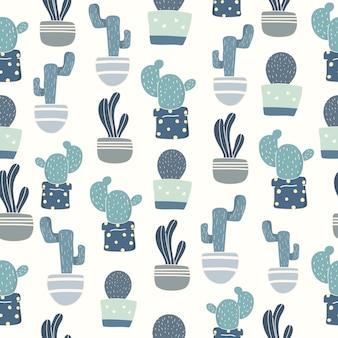Seamless pattern cactus retro color