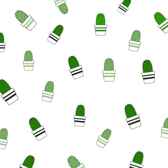 Seamless pattern of cactus on white background, repeating background concept.