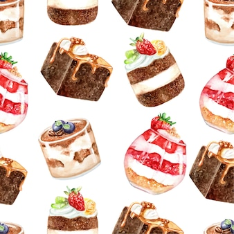 Seamless pattern of cakes dessert watercolor