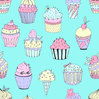 Seamless pattern of cakes of different colors