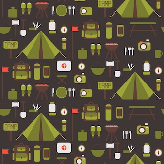 Seamless pattern of camping equipment symbols and icons