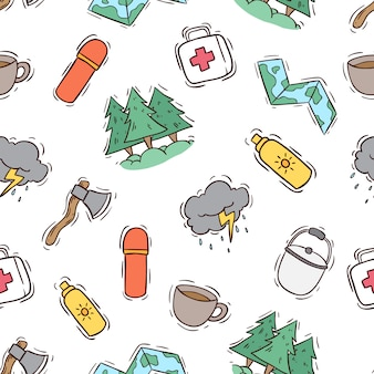 Seamless pattern of camping icons