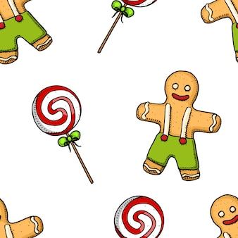 Seamless pattern candle and gingerbread, holly lollipop.