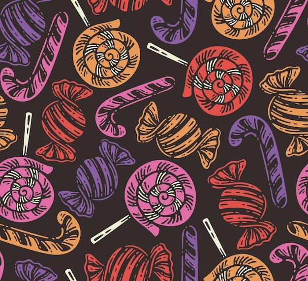 Seamless pattern of candy elements in dark background