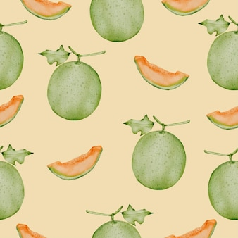 Seamless pattern of cantaloupe, full and cut into pieces