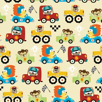 Seamless pattern of car racing cartoon with funny racer