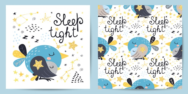 Seamless pattern and card with cute bird
