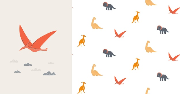 Seamless pattern and card with cute dinosaurs. prehistoric era. children's illustration.
