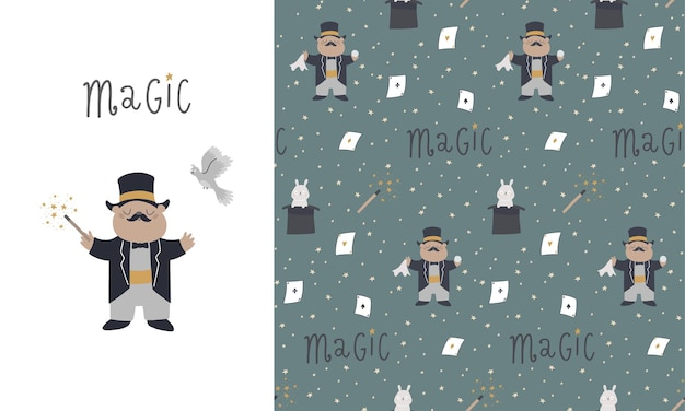 Seamless pattern and card with cute elements for tricks, hat, hare, magic wand, magic box, dove.children's illustration
