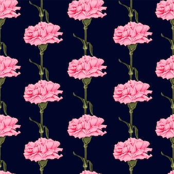 Seamless pattern carnation flowers on dark blue background. illustration drawing fabric design.