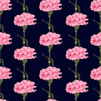 シームレスパターン暗い青色の背景にカーネーションの花。イラスト描画生地デザイン。