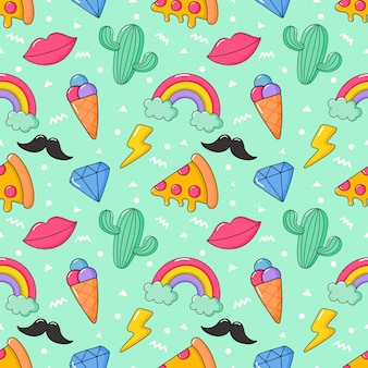 Seamless pattern cartoon 80s, 90s comic style for girls.