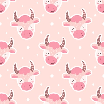 Seamless pattern cartoon bulls. print for wrapping, fabric, wallpaper, illustration for children.