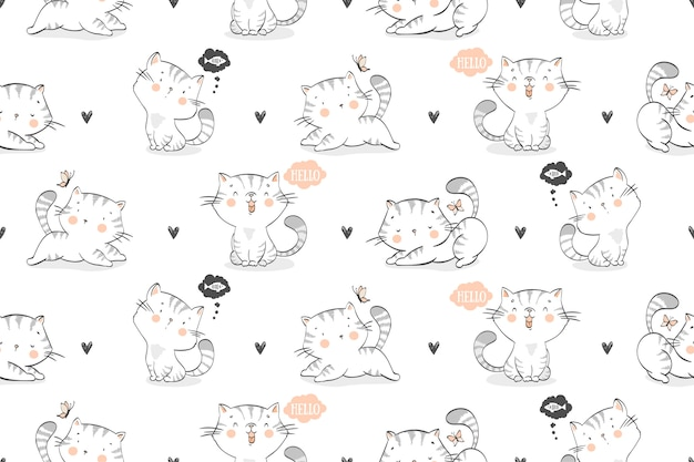 Seamless pattern of cartoon cats