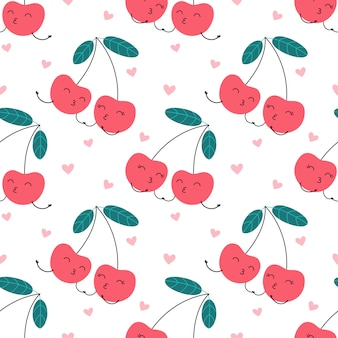Seamless pattern cartoon character of cherry in love, sweet kiss.
