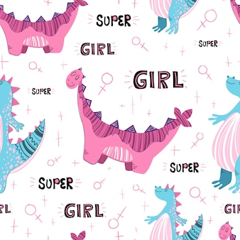 Seamless pattern. cartoon dino and lettering