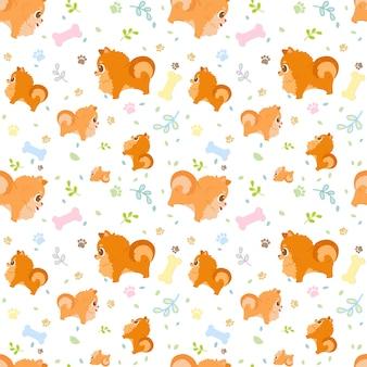 Бесшовные мультфильм собака породы померанский с лапами, листьями и костями.