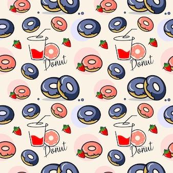 Бесшовные модели мультфильм пончик фон хлебобулочные сладкий завтрак