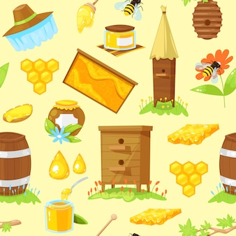 Seamless pattern of cartoon elements of beekeeping