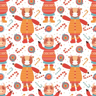 Seamless pattern cartoon funny baby bulls with lollipop and candy cane. mascot new year 2021. background animal character in winter clothes. cow, buffalo, calf, ox. merry christmas and happy new year