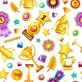 Seamless pattern cartoon gold games rewards.