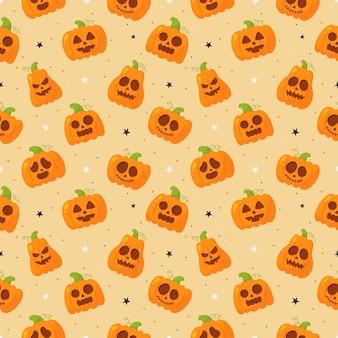 Бесшовные модели мультфильм счастливого хэллоуина тыква и звезды, изолированные на оранжевом фоне