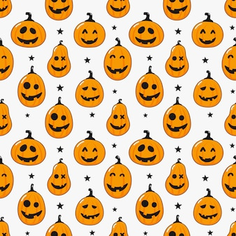 Seamless pattern cartoon happy halloween pumpkin and stars isolated on white
