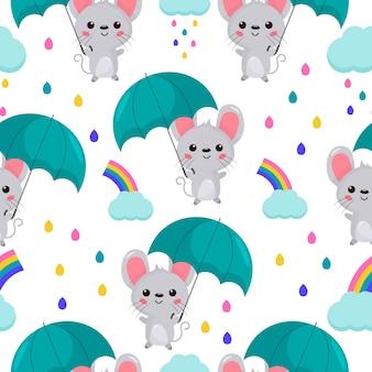 シームレスパターン。傘で漫画かわいいマウス。虹と雲。