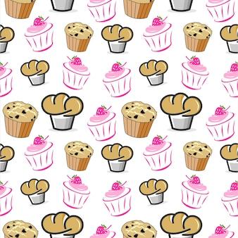 シームレスパターン漫画マフィンとカップケーキベクトルベーカリー
