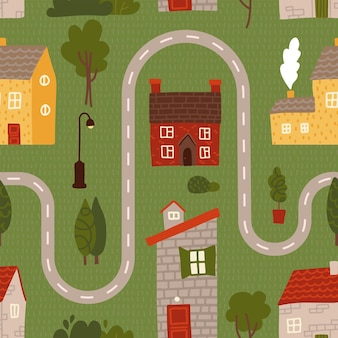 Seamless pattern - cartoon road with house, tree