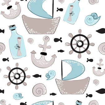 Seamless pattern, cartoon ship, wheel, bottle