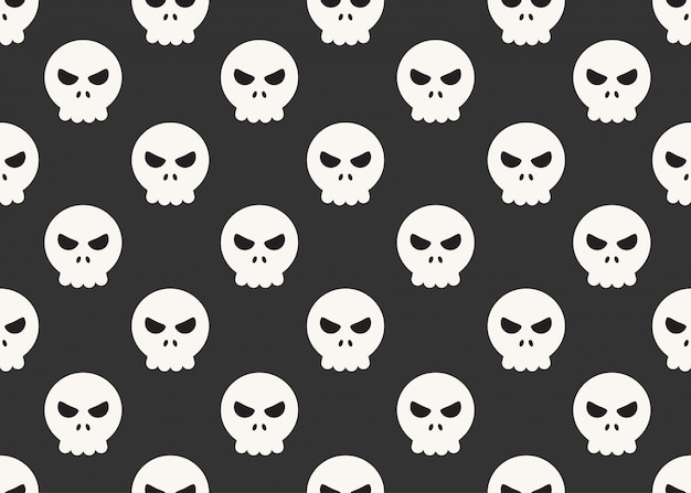 Seamless pattern of cartoon skulls on black