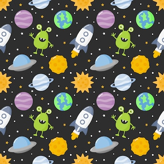 Seamless pattern cartoon space. planets isolated on black background