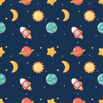 Seamless pattern cartoon space. planets isolated on blue background.