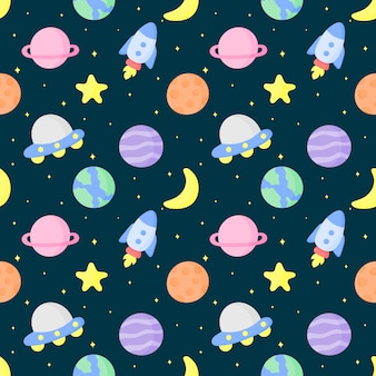 Seamless pattern cartoon space and planets