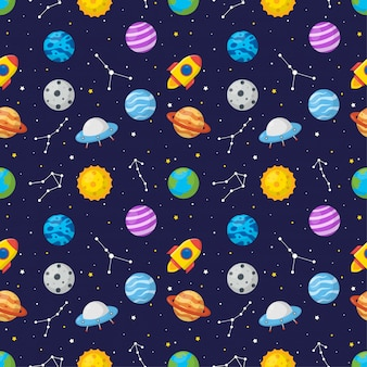 Seamless pattern cartoon space with planets