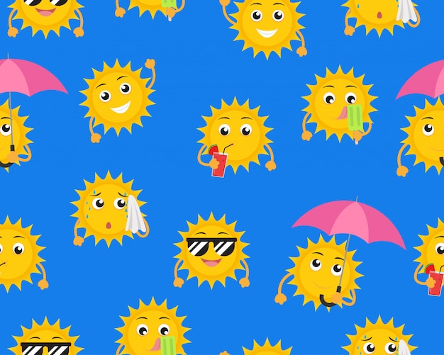 Seamless pattern of cartoon sun mascot in different pose