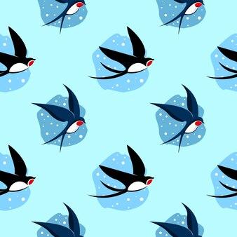 シームレスパターン漫画ツバメ鳥飛ぶ動物ベクトル