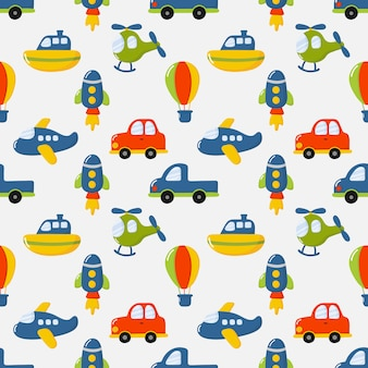 Seamless pattern cartoon transport toys. cars, boat, helicopter, rocket, balloon and plane