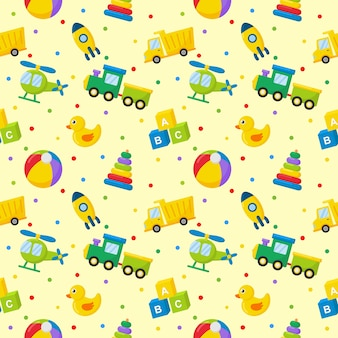 Seamless pattern cartoon transport toys. cars, helicopter, rocket, balloon and plane. kawaii style isolated on yellow.