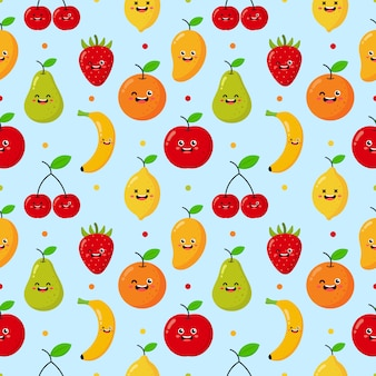 Seamless pattern cartoon tropical fruit characters kawaii style. isolated on blue.