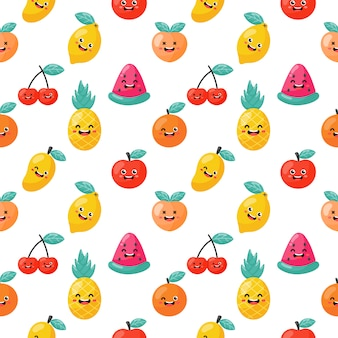 Seamless pattern cartoon tropical fruit characters kawaii style. isolated