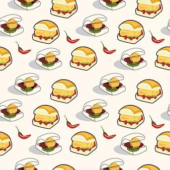 원활한 패턴 만화 채식 햄버거 인도 전통 거리 음식