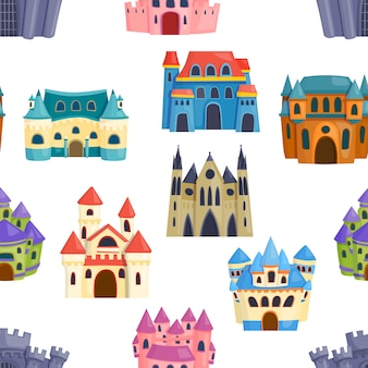Seamless pattern castle, fairytale landscape. magic medieval fantasy dream palace.