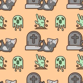 ハロウィーンの日のシームレスなパターンの猫と幽霊