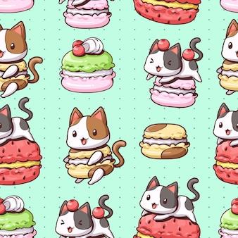 シームレスパターンの猫とマカロン