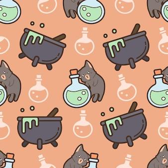ハロウィーンの日のシームレスなパターンの猫と毒