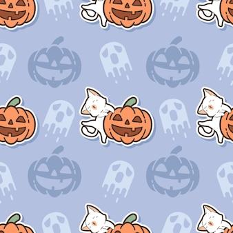 シームレスなパターンの猫とカボチャの漫画