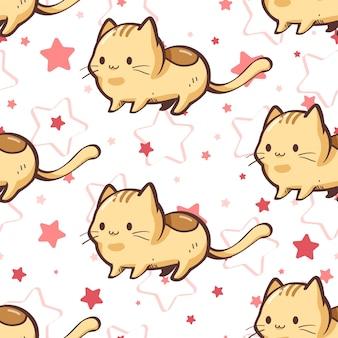 원활한 패턴 고양이 별 만화 흰색 바탕 화면 배경